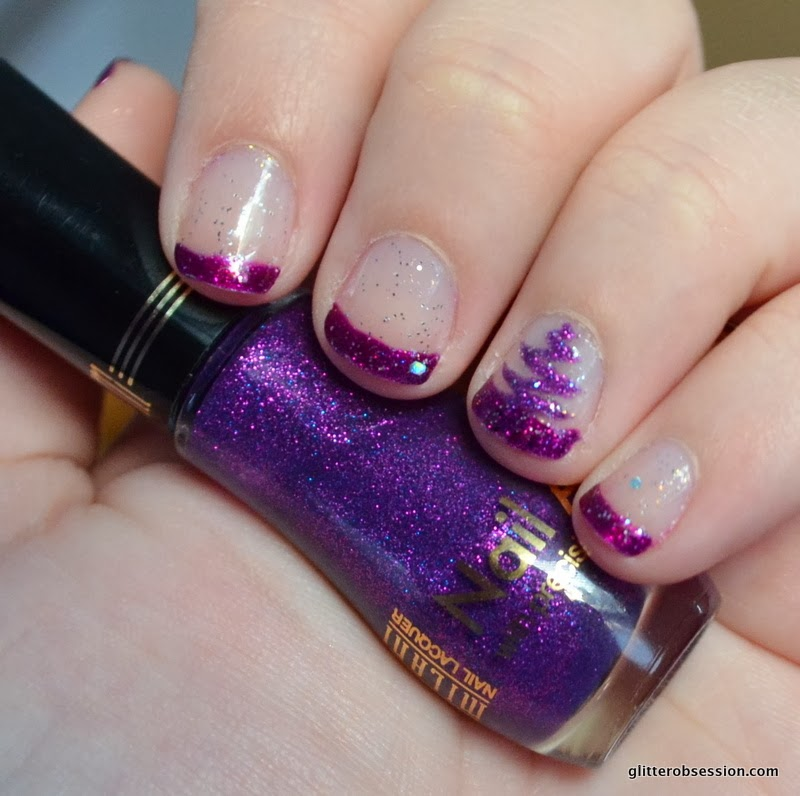 christmas nail art, christmas tree nail art, purple glitter nail art, nail art, purple nail art, milani purple sketch, kleancolor purple, revlon stunning