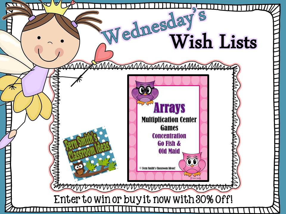 Wish List Wednesday Giveaway: Multiplication Arrays Go Fish, Old Maid and Concentration Center Games