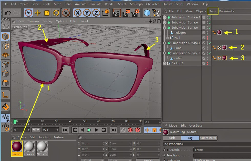 Texture + Render Retro plastic glasses in C4D  05
