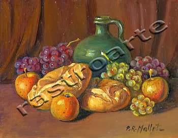 Bodegón con vasija vidriada, uvas, manzanas y panes
