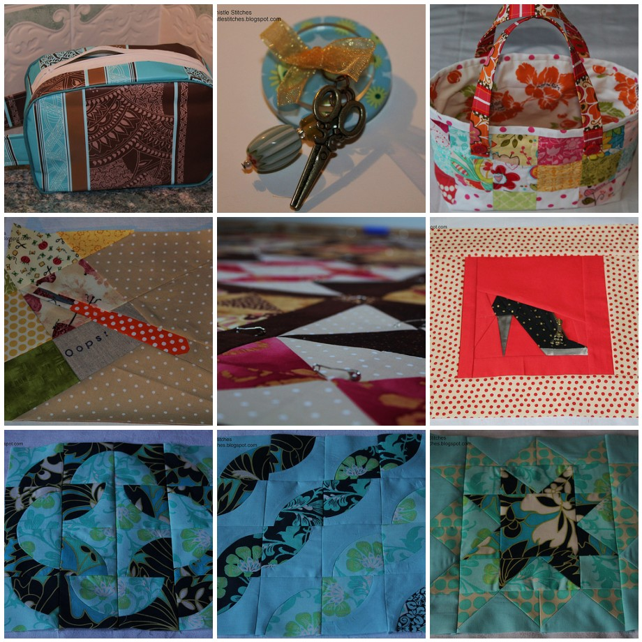 Nine photos of sewing projects completed in March, an oilcloth washbag, button brooch, fabric basket, And Sew On BOM block, basted quilt, paper-pieced shoe block, three blocks for the Craftsy BOM