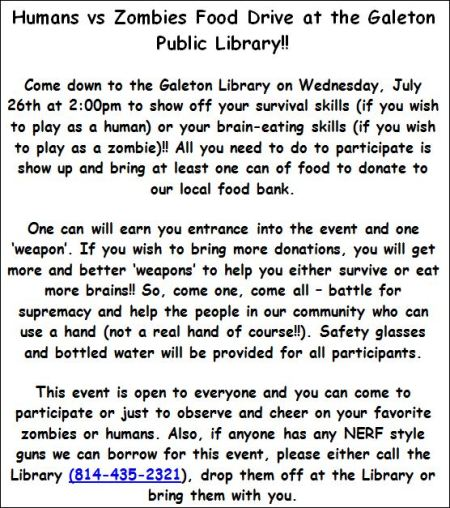 7-26 Galeton Public Library Food Drive