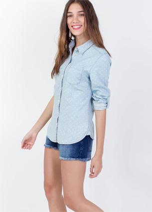 Renner coleção feminina Primavera Verão 2016 camisa em jeans poá