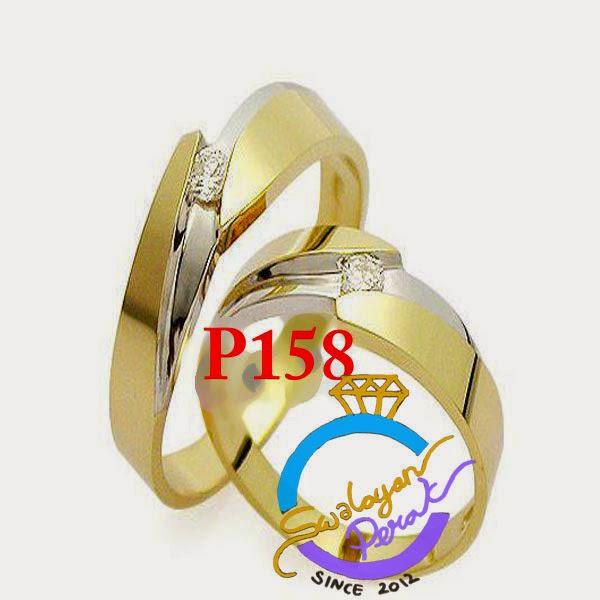 Model cincin nikah berlian batu permata lapis emas minimalis