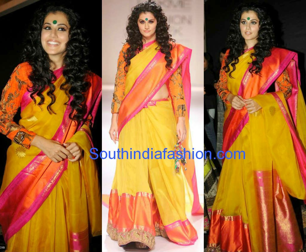 tapseepannu in gaurang shah saree at LFW winter festive 2014