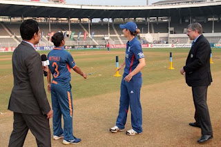 Mithali-Raj-captain-of-India-and-Charlotte-Edwards-captain-of-England-during-the-toss-at-the-Brabourne-stadium-in-Mumbai-on-February-3-2013.