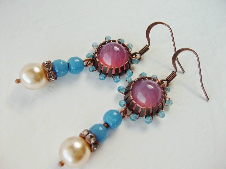 Vintage stiilis kõrvarõngad sinised roosad mdmButiik
