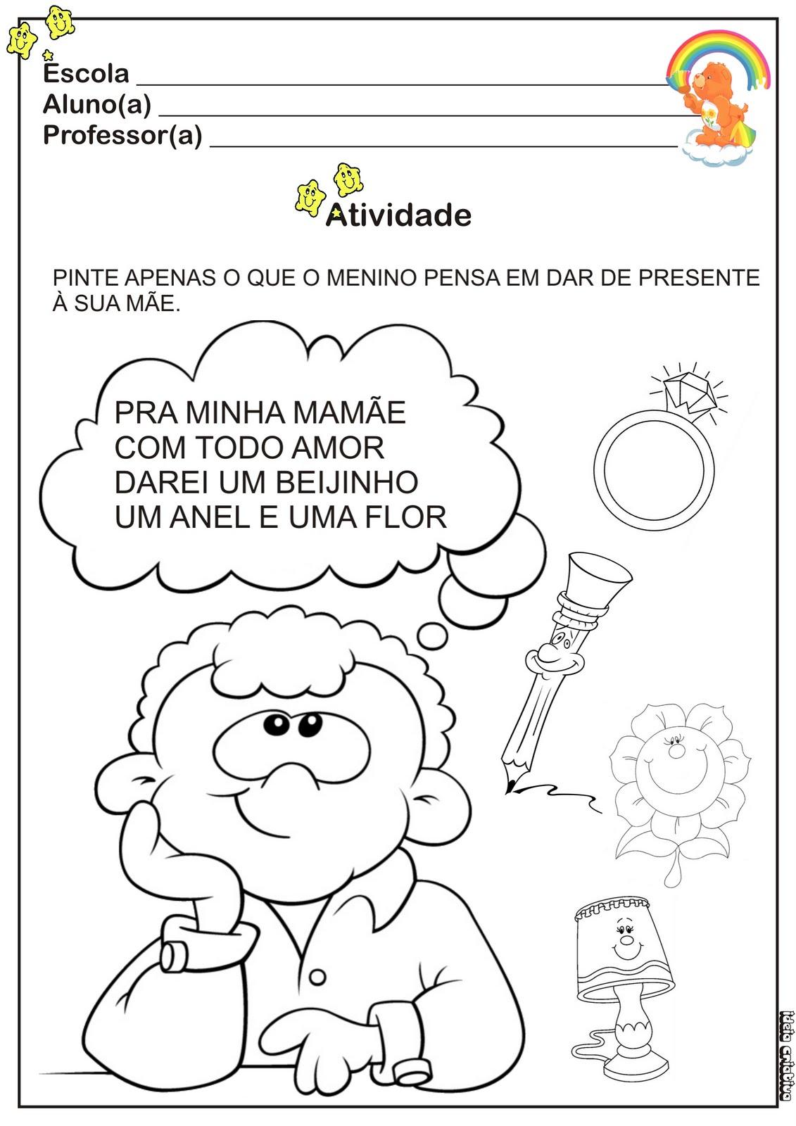 Atividade Dia Das Mães Para Educação Infantil Educando Com Amor 2013