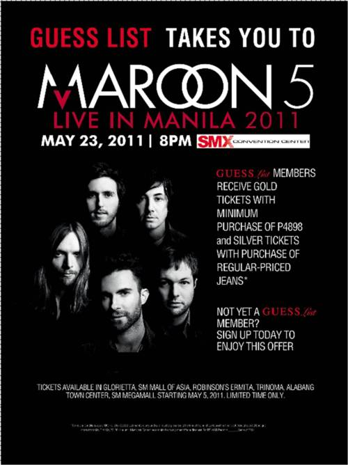 GUESS LIST TAKES YOU TO MAROON 5 LIVE IN MANILA, MAROON 5 LIVE IN MANILA, picture, photo, image, billboard, poster