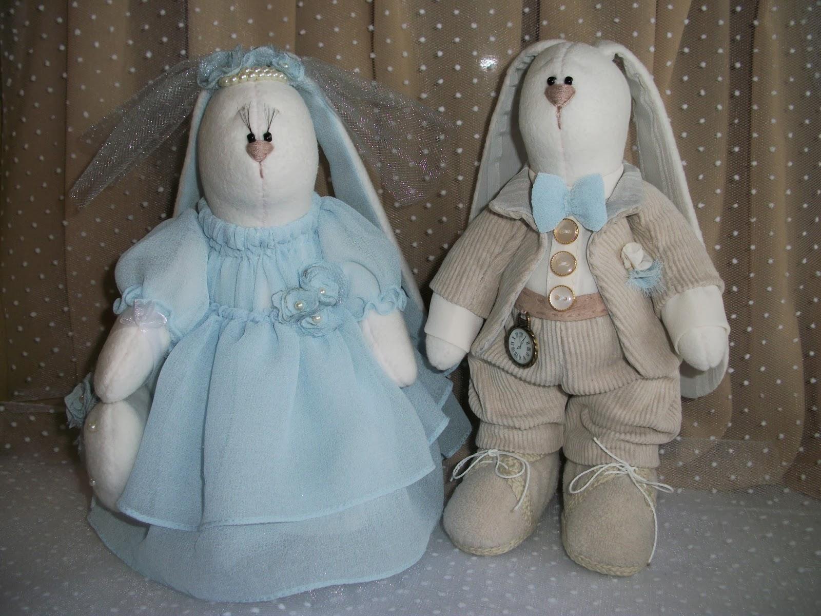 игрушки ручной работы свадебные зайцы