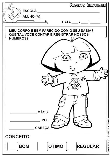 Atividade Identidade Dora Aventureira/ Corpo Humano