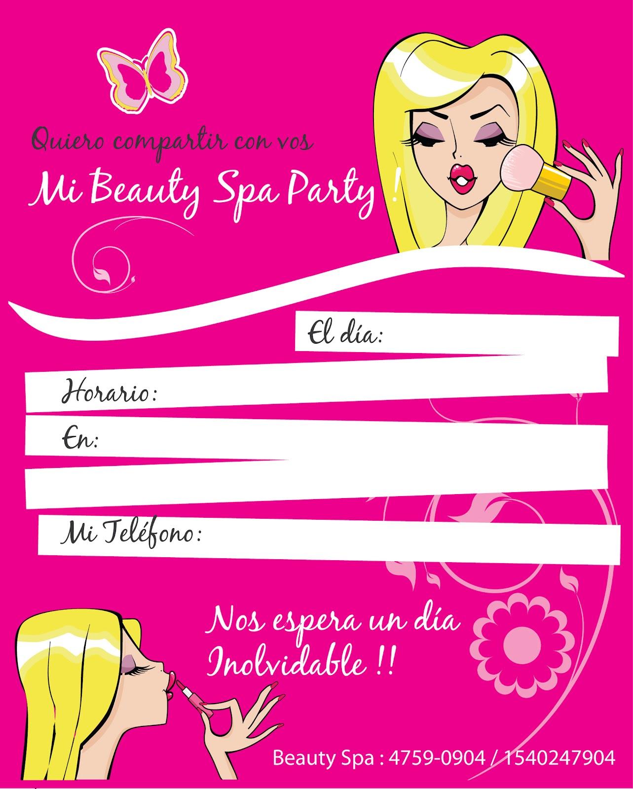 Beauty Spa Invitaciones Para Imprimir