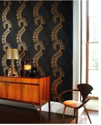 New home design ideas theme inspiration retro stylish for Black and gold living room wallpaper