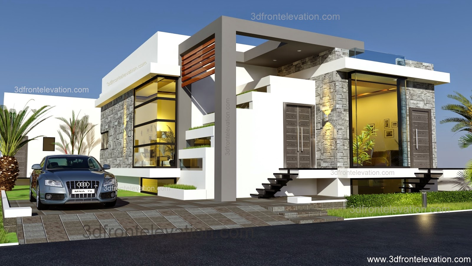3d front afghanistan house design 2015 for Normal house front design