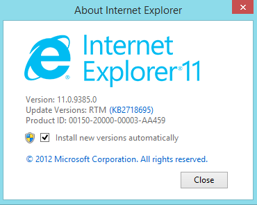 Microsoft Internet Explorer 11 for Windows 7 Developer Preview