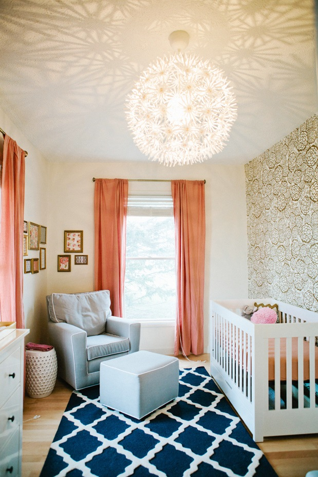 Cute nursery baby room design cococozy for Blue and peach bedroom ideas