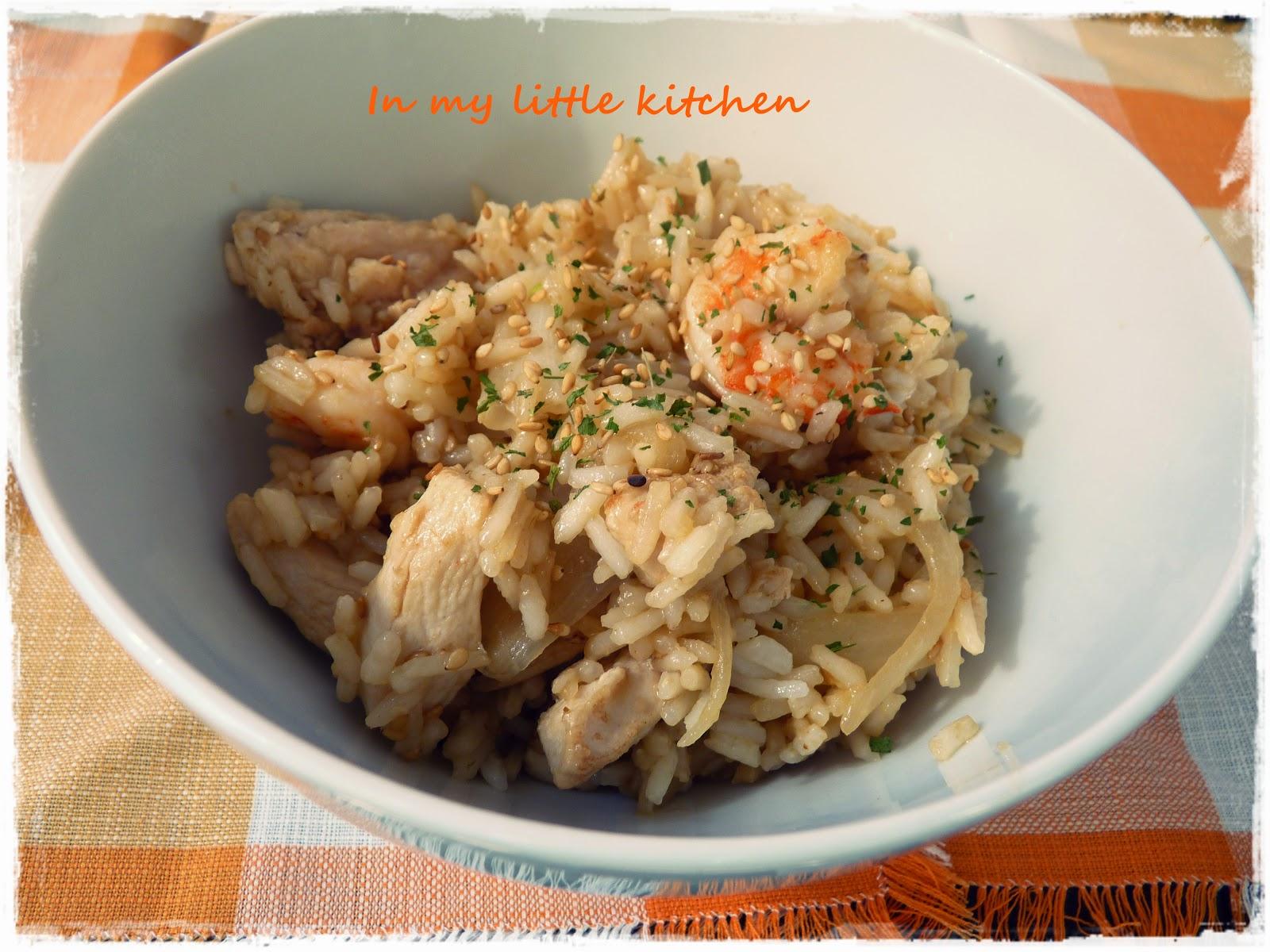 Salteado de arroz con pollo y langostinos in my little - Salteado de arroz ...