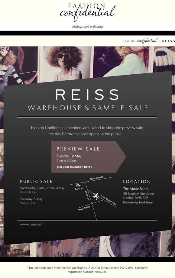 Reiss & Warehouse sample sale