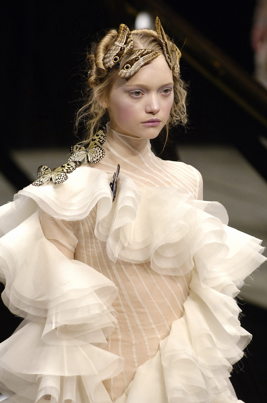 "Gemma Ward wearing the silk chiffon dress from ""The Widows as Culloden"" Fall/Winter 2006 collection used for the Kate Moss Hologram / Alexander McQueen Savage Beauty Exhibition London Victoria & Albert Museum / via fashioned by love British fashion blog"