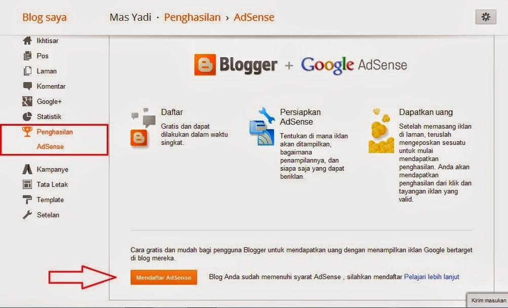 Mudahnya Cara Daftar Adsense Lewat Blogger dalam Sekejap 2014