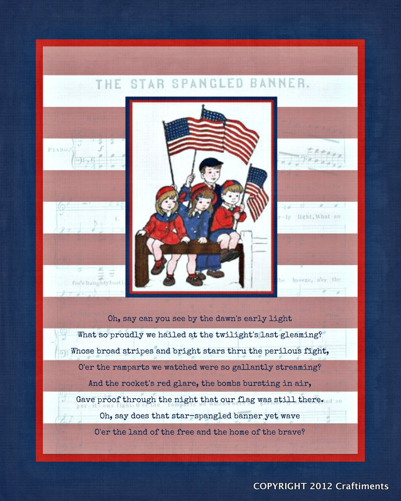 Free Star Spangled Banner Printable