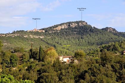 Panoràmica del Puig d'Olena des del camí al Molí de Llobateres