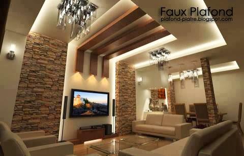 Deux id es pour vivre la d coration du plafond de la salle de s jour des pan - Plafond maison moderne ...