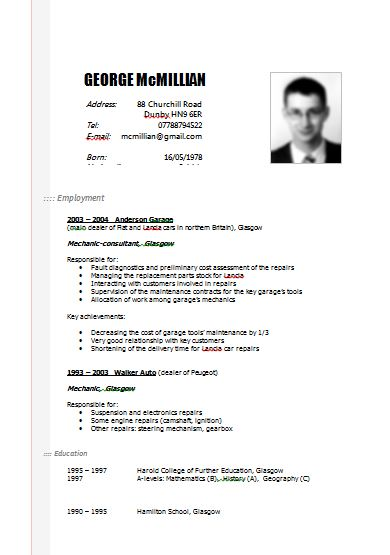 German Cv Template English