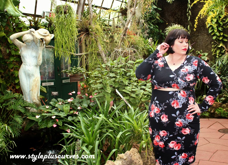 Plussize Floral Midriff Cutout Dress on Style Plus Curves