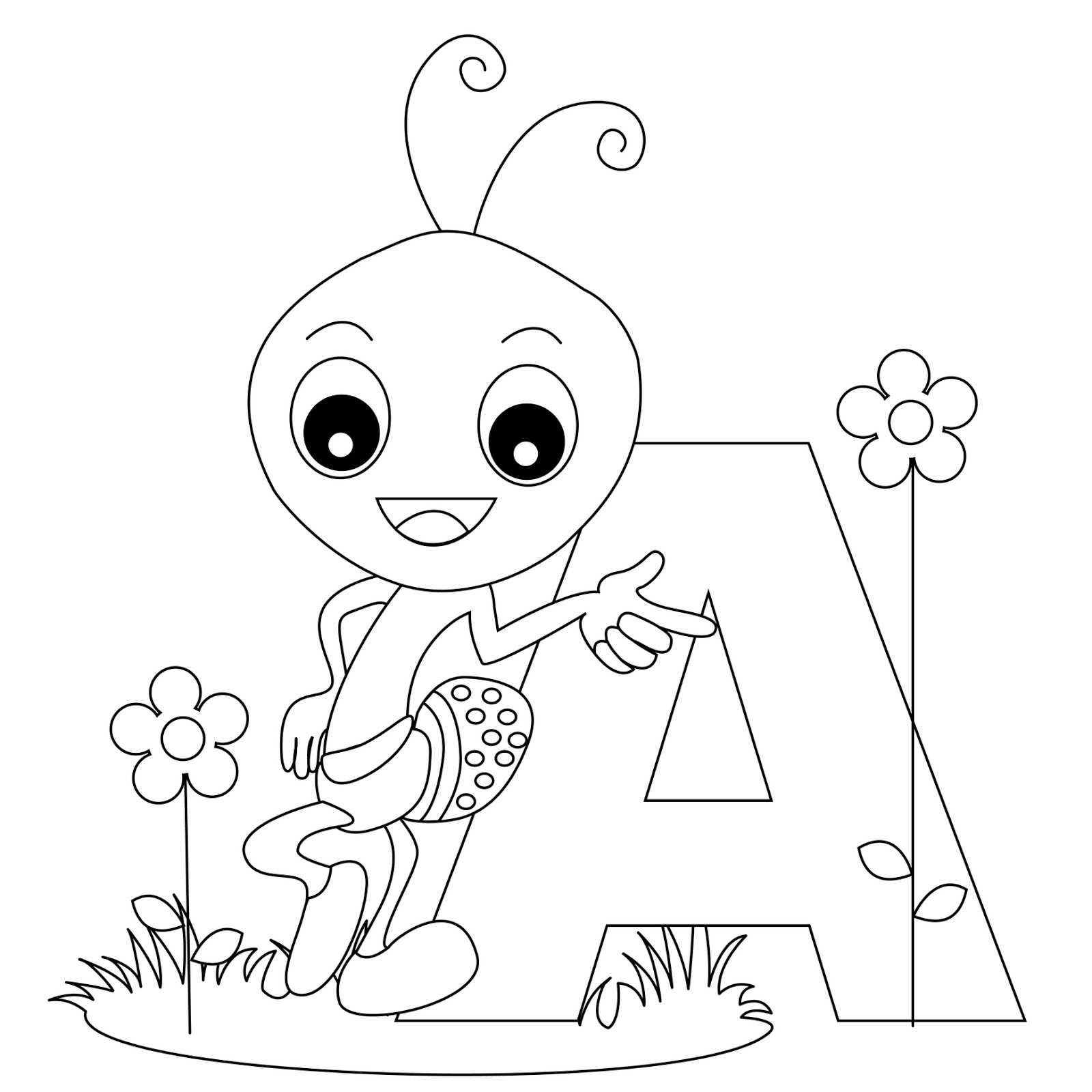 Coloring Pages For Alphabet : Animal alphabet letter a coloring child