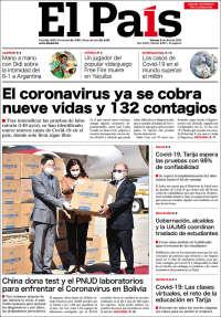 03/04/2020      UNA  PRIMERA PÁGINA DE LA PRENSA BOLIVIANA