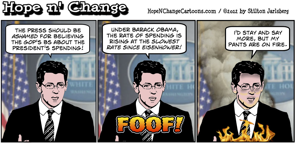 Whitehouse claims that Obama's spending rate is slowest since Eisenhower, hopenchange, hope and change, hope n' change, stilton jarlsberg, conservative, political cartoon, tea party