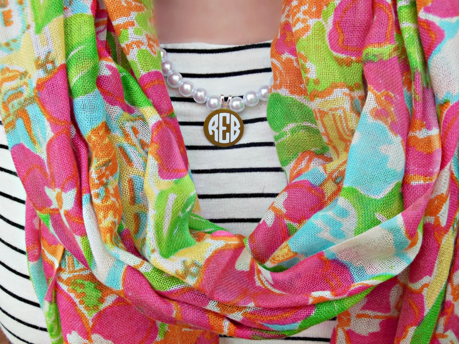 What I Am Wearing: Striped Dresstarget, Peal Monogrammed Necklace An Etsy  Shop, Knoxville Tn Scarf Lilly Pulitzer, Earrings Tory Burch, White  Scallop