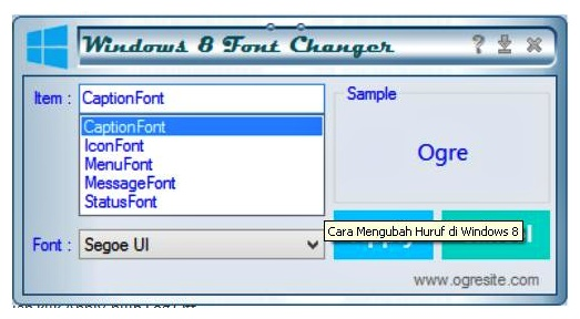 how to change font on pc windows 8