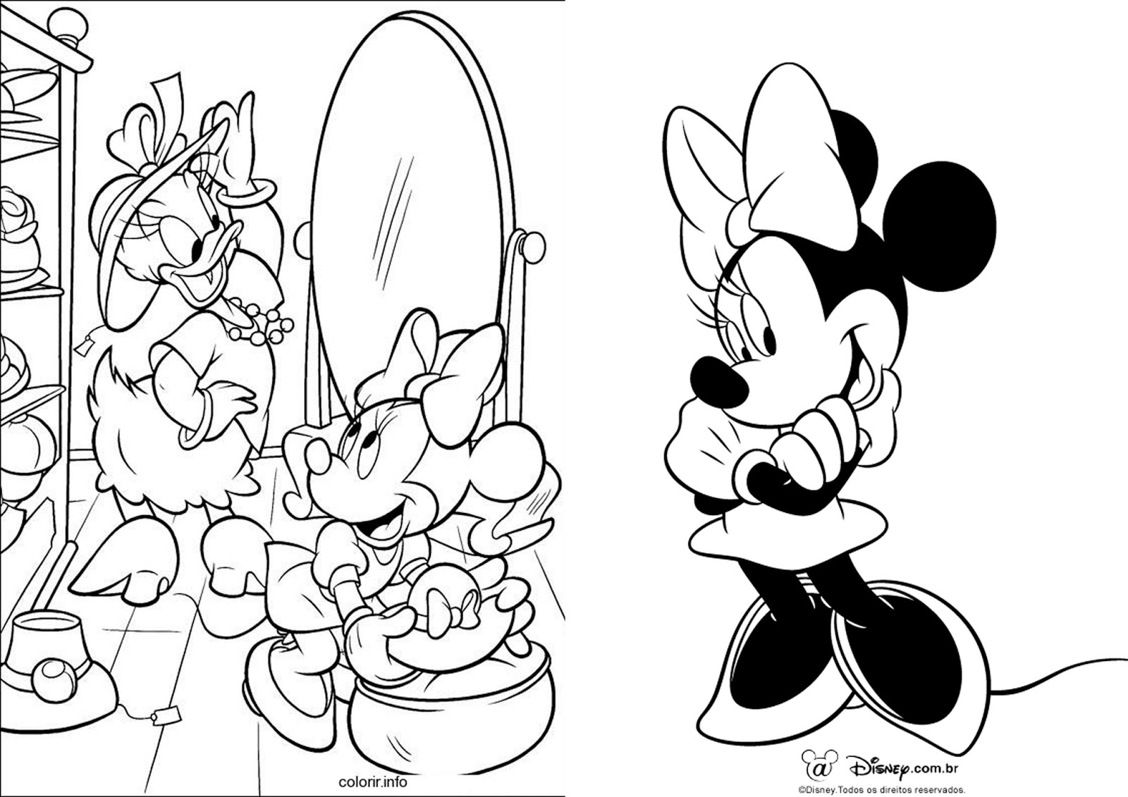 Minnie E Mickey Para Pintar. Mickey Mouse Coloring Pages. Mickey Y ...