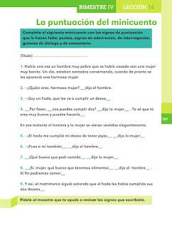Apoyo Primaria Español 2do grado Bloque 4 lección 16 La puntuación del minicuento
