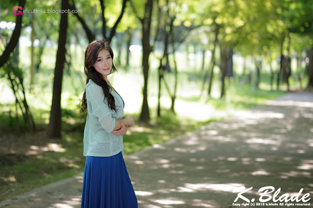 3 Hwang Ga Hi - Blue Maxi - very cute asian girl - girlcute4u.blogspot.com
