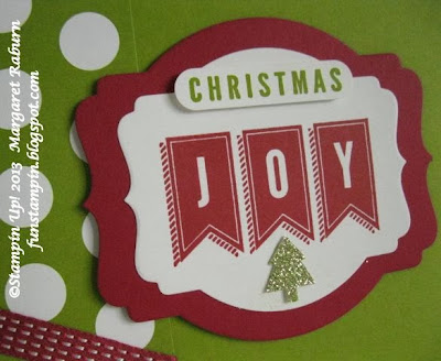 Fun Stampin' with Margaret!  A Banner Christmas, Season of Style DSP.  Deco Label Framelits for a contemporary Christmas card. SU