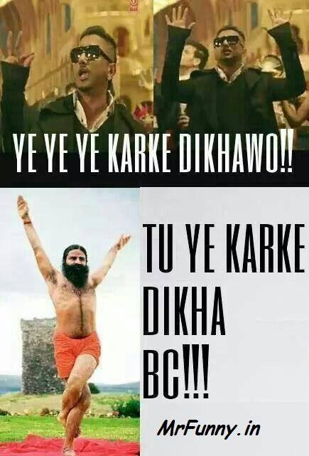 Ye Ye Ye Karke Dikhao, Party With Bhoothnath Song – Honey Singh & Baba Ram Deve Funny Pic