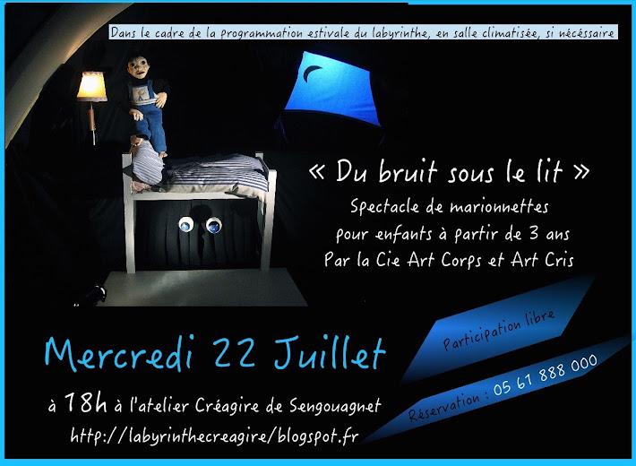 """prochain spectacle """"dU BRUIT SOUS LE LIT"""""""