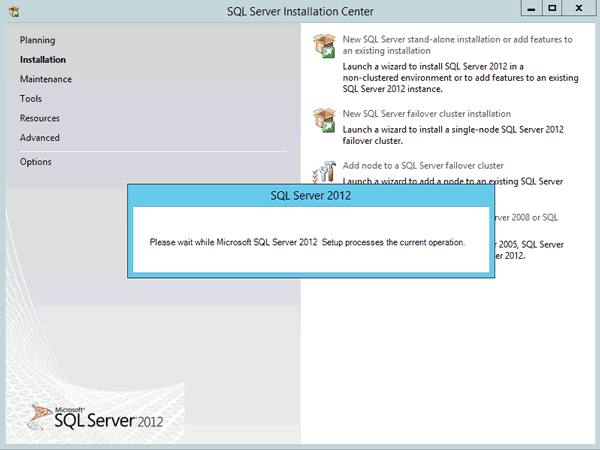 wait for SQL Server 2012 setup process