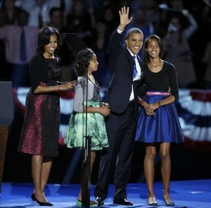 President Barrack Obama, Michelle Obama, Malia Obama, Sasha Obama, elect, election