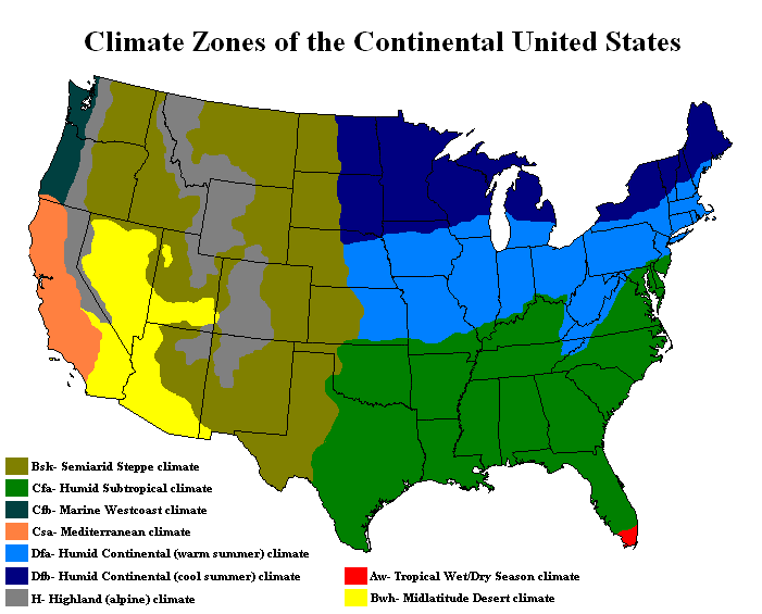 General classification climate maps United States.