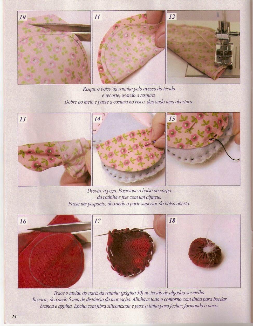 Moldes ratinho de feltro e tecido
