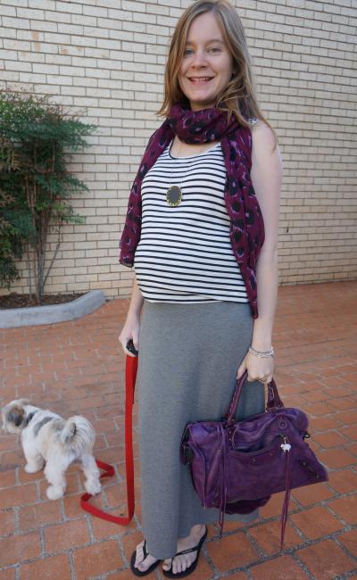 away from blue casual stripe tank purple scarf print mixing grey maxi skirt