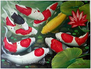 gambar hewan - lukisan ikan koi
