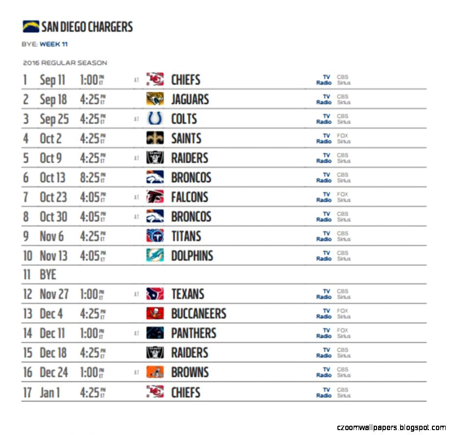 San Diego Chargers 2016 NFL schedule released