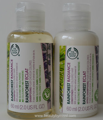 The Body Shop Rainforest Radiance Shampoo and conditioner