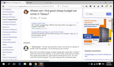Tawau Car Rental at Yahoo Answers
