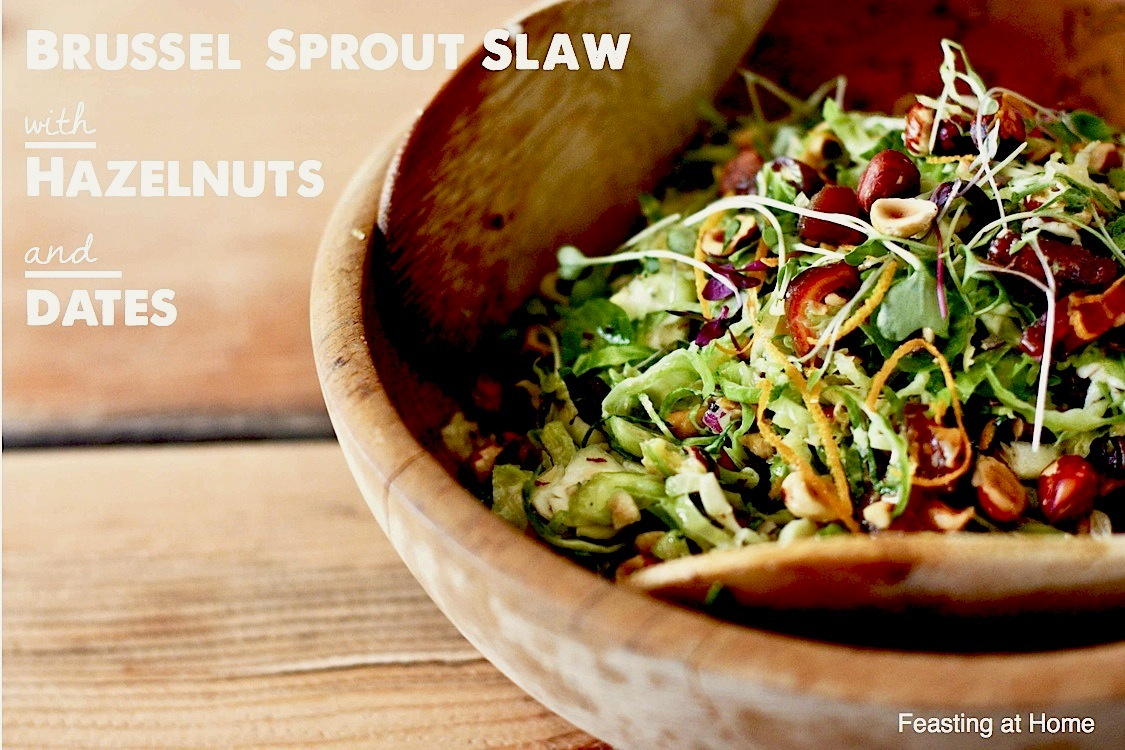 Brussel Sprouts Slaw with Hazelnuts and Dates